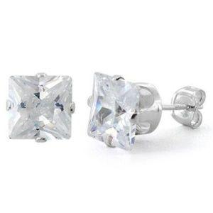 Jewelry - Sterling Silver Princess Cut 7mm CZ Studs